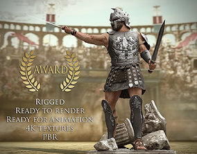 3D model animated Roman Gladiator Warrior