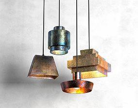 square 3D model Lustre Pendant Lamp