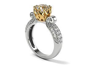Engagement ring UniqueD 003 3D printable model