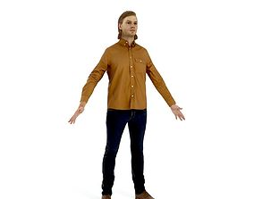 Blonde business man in casual clothes 3D asset