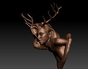 Deer Girl Wall Trophy 2 different Versions 3D print model