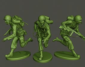 American soldier ww2 run A2 3D print model