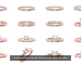 65 Women solitaire ring 3dm 10size stl render detail
