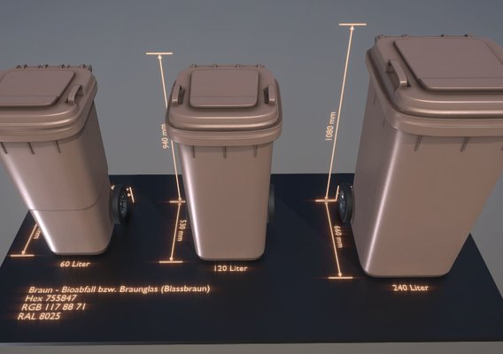 Abfallbehälter Bioabfall braun (Blender-2.92)