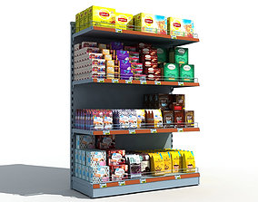 Supermarket Shelves Tea and Coffee 3D