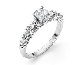 Engagement Maya Cushion cut ring 3D print model