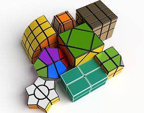 3D model 8x rare cube puzzles set