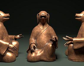 Bronze 12 Zodiac Animals Pig Sculpture 3D asset