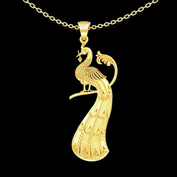 Peacock Sculpture pendant jewelry gold necklace medallion 3D print model