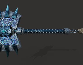 3D model low-poly barbed axe
