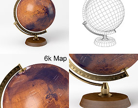 3D model Mars Globe with Wooden Stand and Brass Elements 2