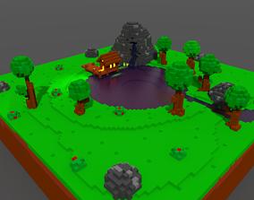 Island 3D model rigged