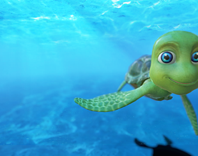 3D asset animated cartoon sea turtle