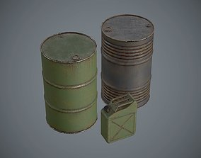 Barrels Oildrums Pack 3D model game-ready