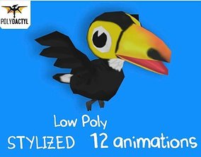 Low Poly Toon Toucan 3D model