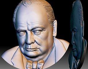 Churchill STL portrait 3d file bas-relief model for CNC
