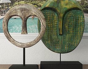 Albesia Wood Mask Decoration 2 3D
