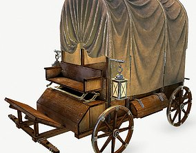 Wooden covered cart 3d model low-poly
