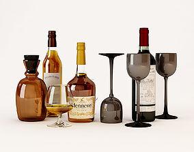 3D vine Bottles and glasses