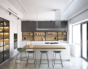 Modern island kitchen 3D model
