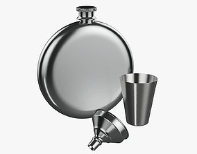 Liquor flask stainless steel 07 3D