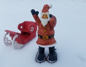 Santa Claus with snowshoes and toy 3D printable model