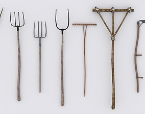 Collection of 51 Medieval Village Hand Tools 3D model