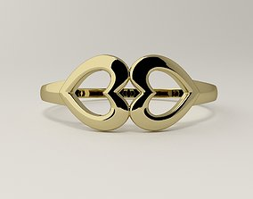 Connection of two hearts ring women 3D print model