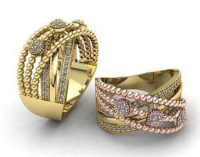 MGold041 Diamond Ring 3dmodel 3D print ready