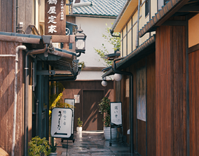 Blender Japan old alley with day-night and weather 3D