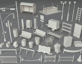 3D model Street Elements - Part - 4 - 39 pieces
