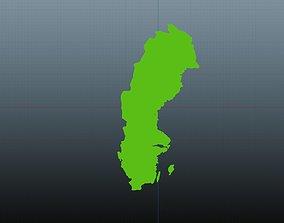 3D model Sweden map symbol