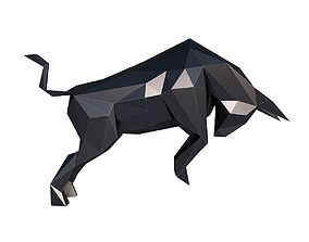 3D asset Angry Bull Low Poly