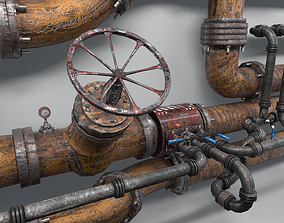 3D model Modular Industrial Pipes