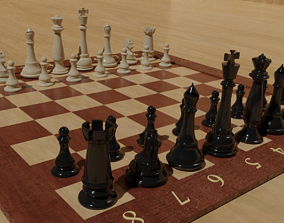 Chess Board with detailed Pieces 3D PBR