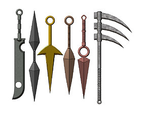 3D printable model Naruto weapons collection kunai sword 2