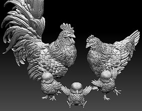 3D print model hen cock chick
