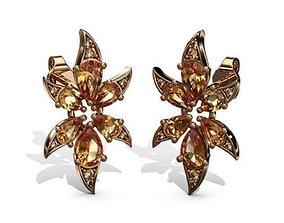 3D print model Earrings Exotic Flowers
