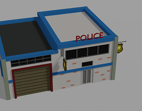 3D asset game-ready Police building Low Poly isometric
