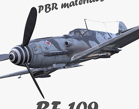 low-poly BF-109 German fighter PBR materials 3d model gray