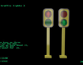 3D model Low poly traffic lights 3