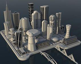 3D model architecture Future City Maya