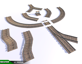VR / AR ready Lowpoly Railway Track Collection Pack 3d