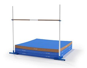 Pole Vault Bar And Matt 3D model