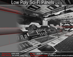 Sci-Fi Panels Low Poly 3D asset game-ready