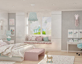 realistic girls bedroom 3D model