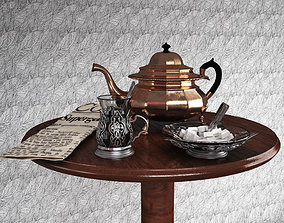 Tea little table with a teapot a glass and a 3D model 1
