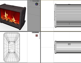 Electrical Fireplace 3D asset low-poly