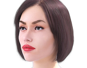 3D model Realistic Woman Face with Free Hairstyles