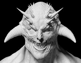 evil demon head eyeless 3D model